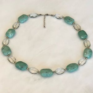 Teal & Clear Bead Necklaces (2)